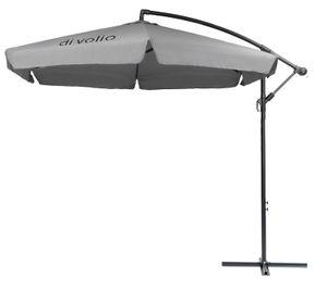 diVolio Garten Sonnenschirm EMPOLI Ampelschirm mit Kurbelvorrichtung UV-Schutz Wasserabweisende Bespannung Sonnenschirm Schirm Gartenschirm Marktschirm - Grau
