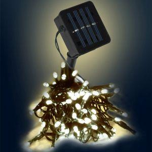 LED-SOLAR-Lichterkette - 150x warmweiße LEDs - In&Outdoor - grünes Kabel - warmweiße LED - 15m