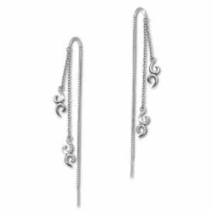 SilberDream weiß Ohrringe Ornament Zirkonia Damen 925 Silber Ohrhänger GSO440W