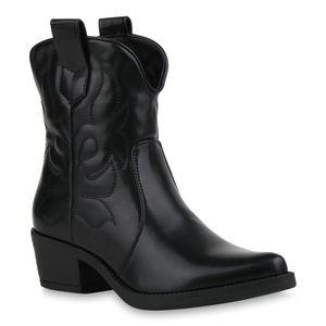 Mytrendshoe Damen Stiefeletten Cowboy Boots Leicht Gefütterte Western Schuhe 831776, Farbe: Schwarz, Größe: 39