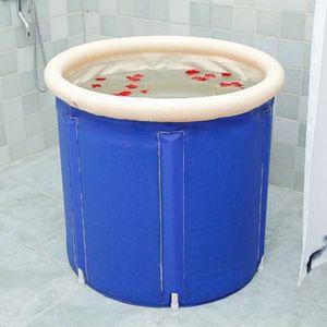 Aufblasbar Badewanne Faltbadewanne Wasserwanne PVC Erwachsene Spa Wanne mit Deckel + Sitzkissen für Indoor Outdoor 70*70cm