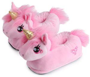 """Corimori Süße Plüsch Hausschuhe (10+ Designs) Einhorn """"Rose"""" Slipper Einheitsgröße 34-44 Uni Pantoffeln Rosa Pink Gold"""