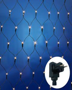 LED Lichternetz, 80x80cm, 110 LED warm-weiß, für Innen und Außen, 8 Lichtfunktionen, Netzstecker, Doppeltimer