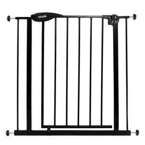 Treppenschutzgitter Türschutzgitter Türgitter Treppen Absperrgitter ohne Bohren, Farbe:Schwarzes Gitter ohne Verlängerung