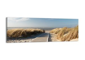 "Leinwandbild - 140x50 cm - ""Hinter der Düne, im Rascheln des Grases""- Wandbilder - Meer Strand Düne - Arttor - AB140x50-2657"