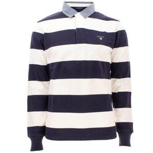 Gant Herren Langarm Poloshirt Original Barstripe Heavy Rugger, Größe:L, Farbe:Weiss-Blau(113)