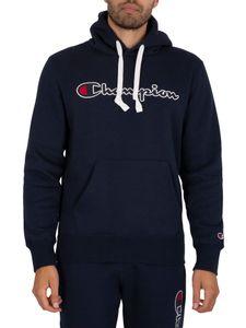 Champion Herren Hoodie aus Bio-Baumwollmischung mit Logo-Schriftzug, Blau M