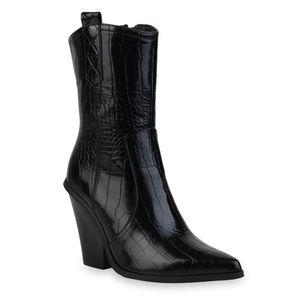 Mytrendshoe Damen Stiefeletten Cowboy Boots Leicht Gefütterte Schuhe 835595, Farbe: Schwarz, Größe: 39