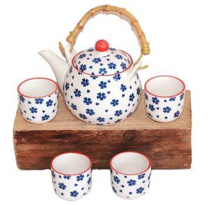 270 Asia Teeset Teeservice Teekanne Tassen 5 tlg weiss blau Blumen Kinder Ruka