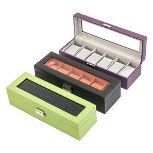 Uhrenkoffer aus Synthetik zweifarbig für 6 Uhren, verschiedene Farben