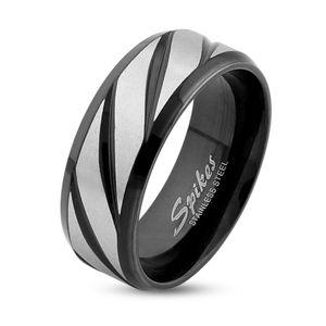 Ring Edelstahl Herren Damen Diagonal Streifen Partnerring Ehering Gold Schwarz Bandring  67 - Ø 21,39 mm 8 mm