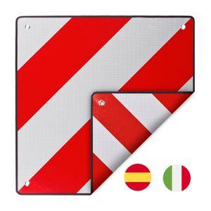 Warntafel Italien Spanien zum wenden Warnschild mit Zulassung 50x50 rot-weiß Alu