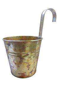 Zink Hängetopf gold Hängekübel für Geländer Ø 15 cm Blumentopf Übertopf Pflanztopf
