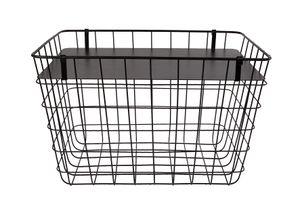 Metallkorb rechteckig mit Deckel in schwarz - ca. 45x30x29 cm