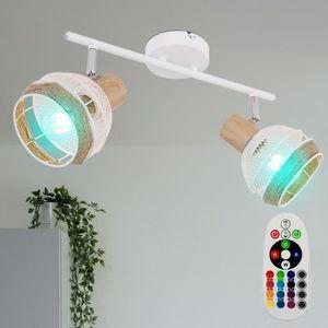 RGB LED Deckenleuchte, Hanfseil, Holz-Optik, Spots verstellbar, WIDY