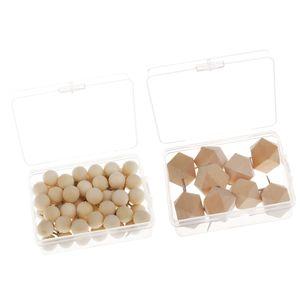 60x Runde Holz Push Pin + 9x Holz Rhombus Zeichnung Pins DIY Craft Tacks