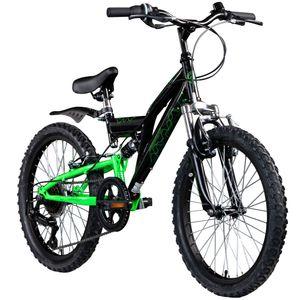 Galano FS180 20 Zoll Mountainbike Full Suspension Kinderfahrrad Fully MTB Kinder ab 6 Jahre Fahrrad, Farbe:schwarz/grün, Rahmengröße:31 cm