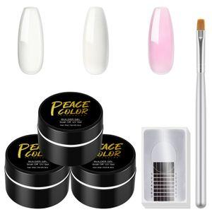 PEACECOLOR UV Builder Gel Nagelverlängerung Nagellack UV Gel Nägel Nail Art Pigment Set  mit einer Nagelbürste & Nagel Schablonen(Silber)