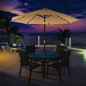 SONGMICS Ø 3 m Sonnenschirm mit LED-Solar-Beleuchtung | Gartenschirm UV-Schutz bis UPF 50+ | knickbar mit Kurbel ohne Ständer taupe GPU33BR