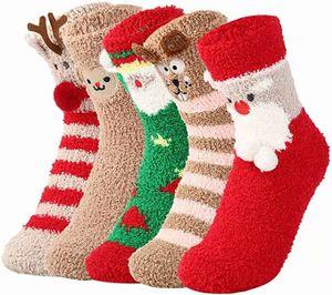 Damen Kuschelsocken Warme Wintersocken Cute Cartoon Muster Hausschuhsocken Anti Rutsch Noppen Socken, 5 Paar