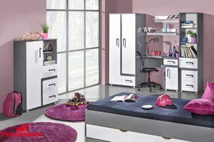 Jugendzimmer Set mit Bett und Keiderschrank 7-teilig anthrazit / weiß