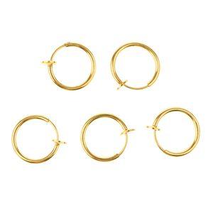 5 Stück Clip auf Nasenring Gold Ring 1,3 x 1,3 cm