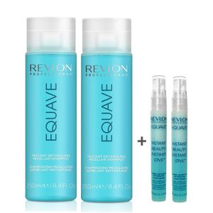 Revlon Equave Hydro Nutritive Detangling Shampoo 2x250ml + Keratin Conditioner Probe 2x9ml