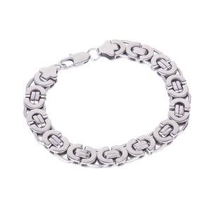 Männer \\ 's Aus Rostfreiem Stahl Hälfte Runden Flachen Bordstein Gliederkette Armband Armreif Silber Ton
