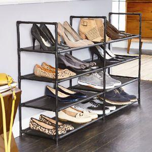 Style home 8 Ebenen Schuhregal 117x29x73cm Schuhstaender Schuhablage Schuhschrank fuer 24 Paar Schuhe Schwarz  SR1172973-S
