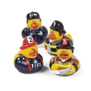 Gummi-Enten Badeenten Quietscheenten Badespaß Spritzenten Feuerwehr Feuerwehrmann 4 Stück