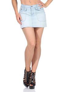 Damen Jeans Minirock Jeansrock,  XS S M L Hellblau M/38