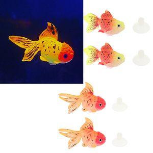 4 Stück Silikon Goldfische Bewegliche Schwimmende Fische Aquarium Dekoration