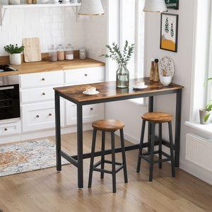 VASAGLE 2er Set Barhocker Barstühle mit stabilem Stahlgestell Küchenstühle Höhe 65 cm rund einfache Montage vintagebraun-schwarz LBC32X