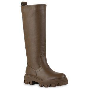 VAN HILL Damen Leicht Gefütterte Plateaustiefel Stiefel Profil-Sohle Schuhe 837802, Farbe: Olivbraun, Größe: 36