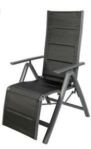 Garten Comfort Relaxsessel Aluminium gepolstert Anthrazit/Schwarz