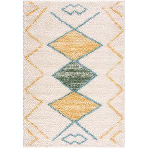 Teppich Wohnzimmer Shaggy – Geometrische Muster - Boho Style -  Pastellfarben - Flauschig, Teppich Größen:140 x 200 cm