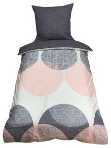 Bettwäsche 135x200 + 80x80 cm Baumwolle Renforce Rosa Grau Kreise mit Reißverschluss, 2-teilig