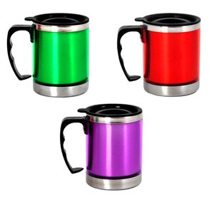 3  x Isobecher Kaffeebecher 300ml Farbig mit Deckel  Thermobecher Trinkbecher