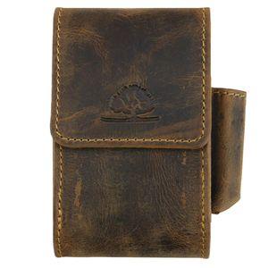 Greenburry Zigarettenetui Leder braun VINTAGE Zigarettenbox mit Feuerzeuglasche Zigarettenschachtel-Etui 1643-25