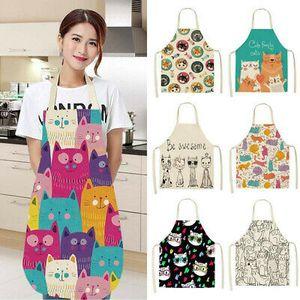 2 Stück Damen Kochschürze Schürze Katze Küchenschürze Latzschürze Arbeitskleidung Grillschürze 68*55cm