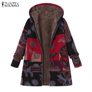 Zanzea Damen Jacke mit Kapuze Mantel Winterjacken Kapuzenmantel Groesse: XXL, Farbe: Rot