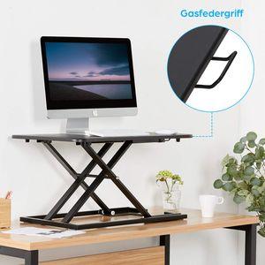 Sitz-Steh-Schreibtisch, Sit-Stand Workstation, Schreibtisch Stehpult höhenverstellbar, Zum Arbeiten im Sitzen oder Stehen, für Computer, Laptop und Bürobedarf