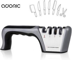 ADORIC Manuelle Messerschärfer Messerschleifer,4 Stufen 2020 Design 2 Wolframstahl für Grobschärfen und Scheren Schleifen, Diamant für Feinschärfen und Spezialkeramik für Präzisionsschärfen