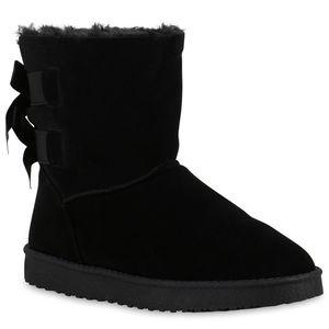Mytrendshoe Warm Gefütterte Damen Stiefel Schlupfstiefel Boots Stiefeletten 813941, Farbe: Schwarz, Größe: 38