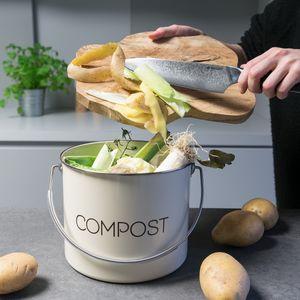 Navaris Komposteimer Mülleimer Abfalleimer für Biomüll - 3l Eimer für Müll - Bioabfallbehälter mit Schwenkgriff - inkl. 3 Kohlefilter - Creme