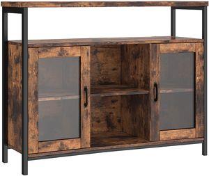 VASAGLE Sideboard, Kommode, 110 x 35 x 80 cm, Küchenschrank, Aufbewahrungsschrank mit 2 transparenten Glastüren, verstellbare Einlegeböden, Industriestil, vintagebraun-schwarz LSC095B01