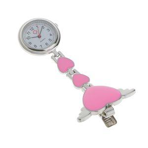 Krankenschwesteruhr - Schwesternuhr - Pflegeruhr - aus Metall - Herz Ketten - Medizinische FOB-Uhr - Taschenuhr - Ketteuhr (Rosa) Rosa