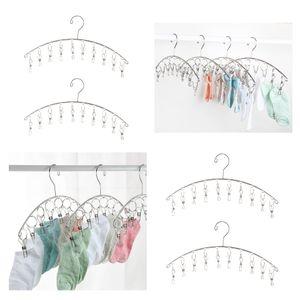 4Pcs Edelstahl 10 Clips Wäscheständer, Platzsparer Kleiderbügel