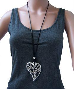 Kette lange Halskette 80-88cm Leder look schwarz Herz Lebensbaum K1000