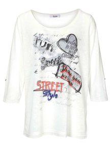 LINEA TESINI Damen Shirt m. Pailletten, offwhite, Größe:36/38